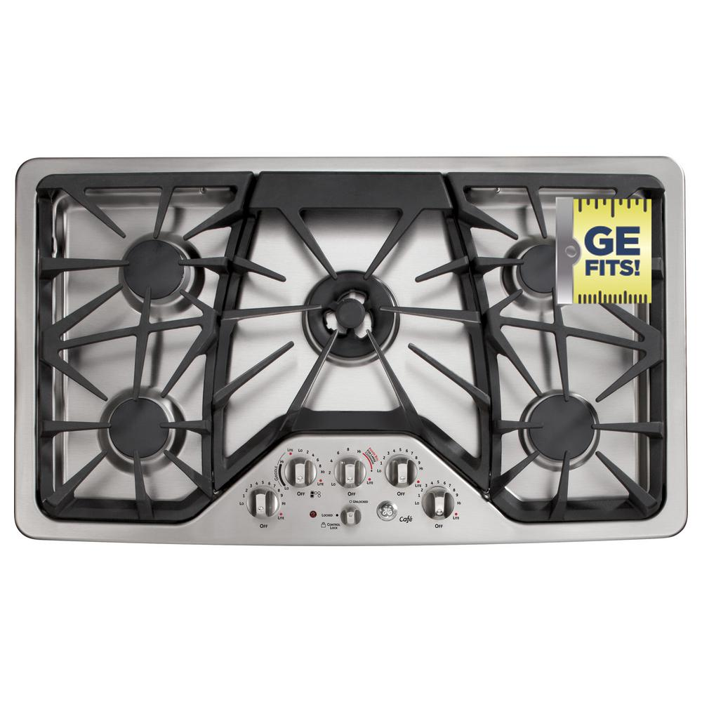 GE Cafe 36 in. Deep Recessed Gas Cooktop in Stainless Steel with 5 Burners including Tri-Ring Burner