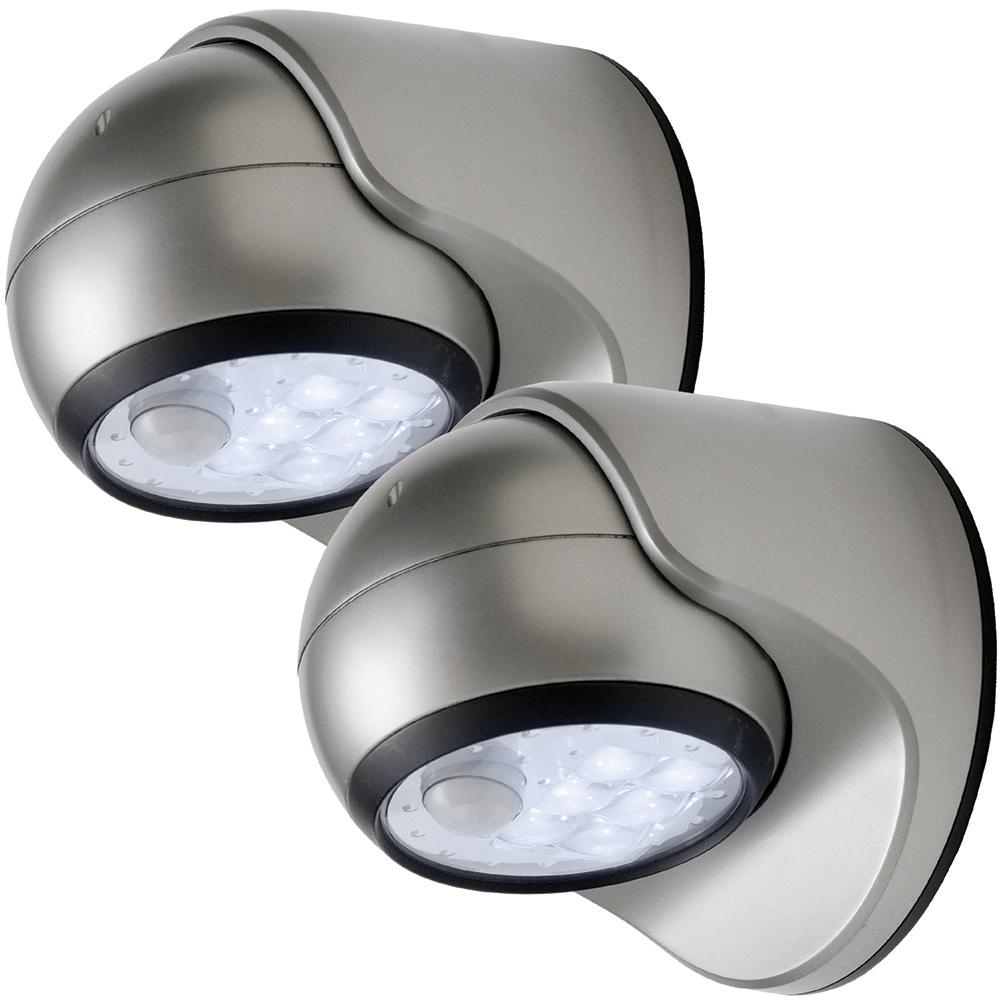 6-Light Silver Motion Activated Outdoor Integrated LED Wireless Area Light