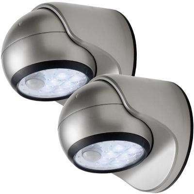 6-Light Silver Motion Activated Outdoor Integrated LED Wireless Area Light (2-pack)
