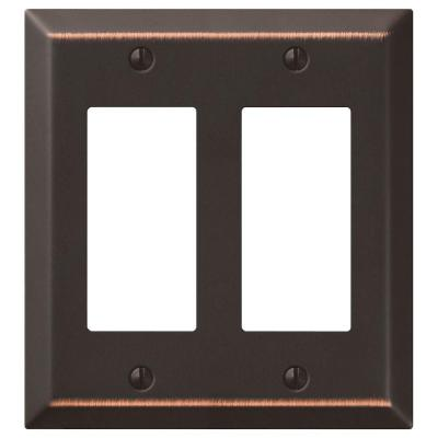 Metallic 2 Gang Rocker Steel Wall Plate - Aged Bronze