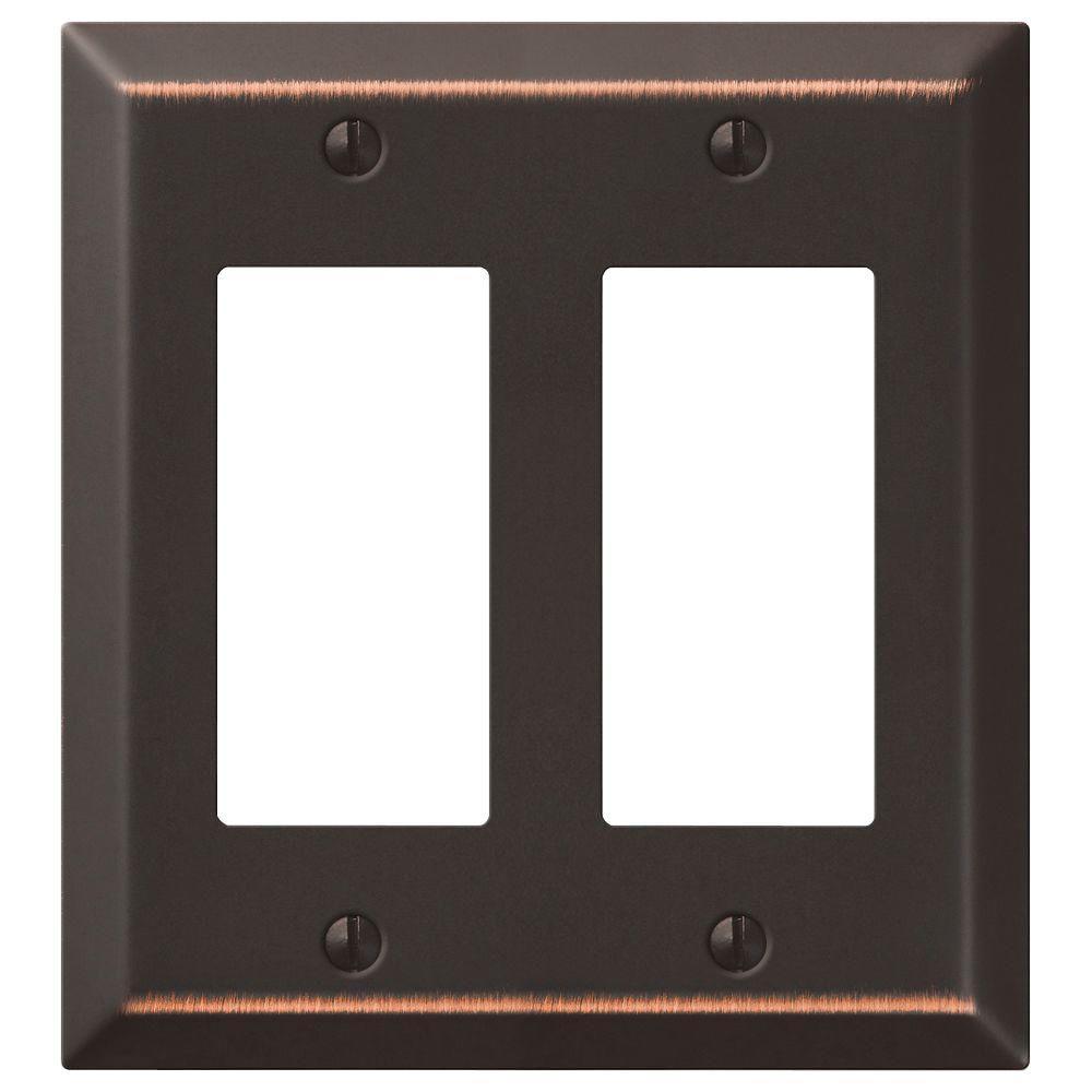 Metallic Steel 2 Rocker Wall Plate - Aged Bronze Cast