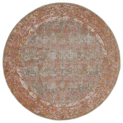 East Ellington Turquoise Bordered 6 ft. 7 in. x 6 ft. 7 in. Round Rug