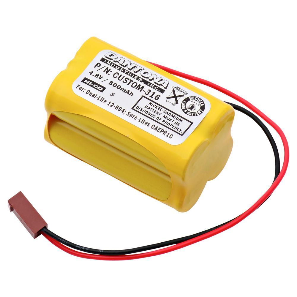 Dantona 4.8-Volt 800 mAh Ni-Cd battery for Dual-Lite - 12-894 Emergency Lighting