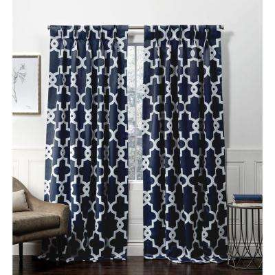 Ironwork PP Peacoat Blue Blackout Triple Pinch Pleat Top Curtain Panel - 27 in. W x 96 in. L (2-Panel)