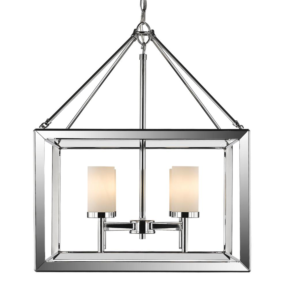 Smyth 4-Light Chrome Chandelier with Opal Glass Shades