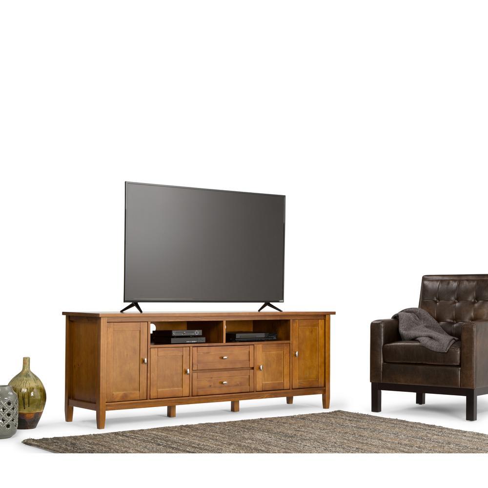 Simpli Home Warm Shaker Honey Brown TV Media Stand-AXWSH003-72 - The ...