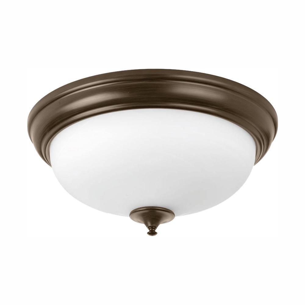 19 in. Alabaster Collection 30 -Watt Antique Bronze Integrated LED Flush Mount