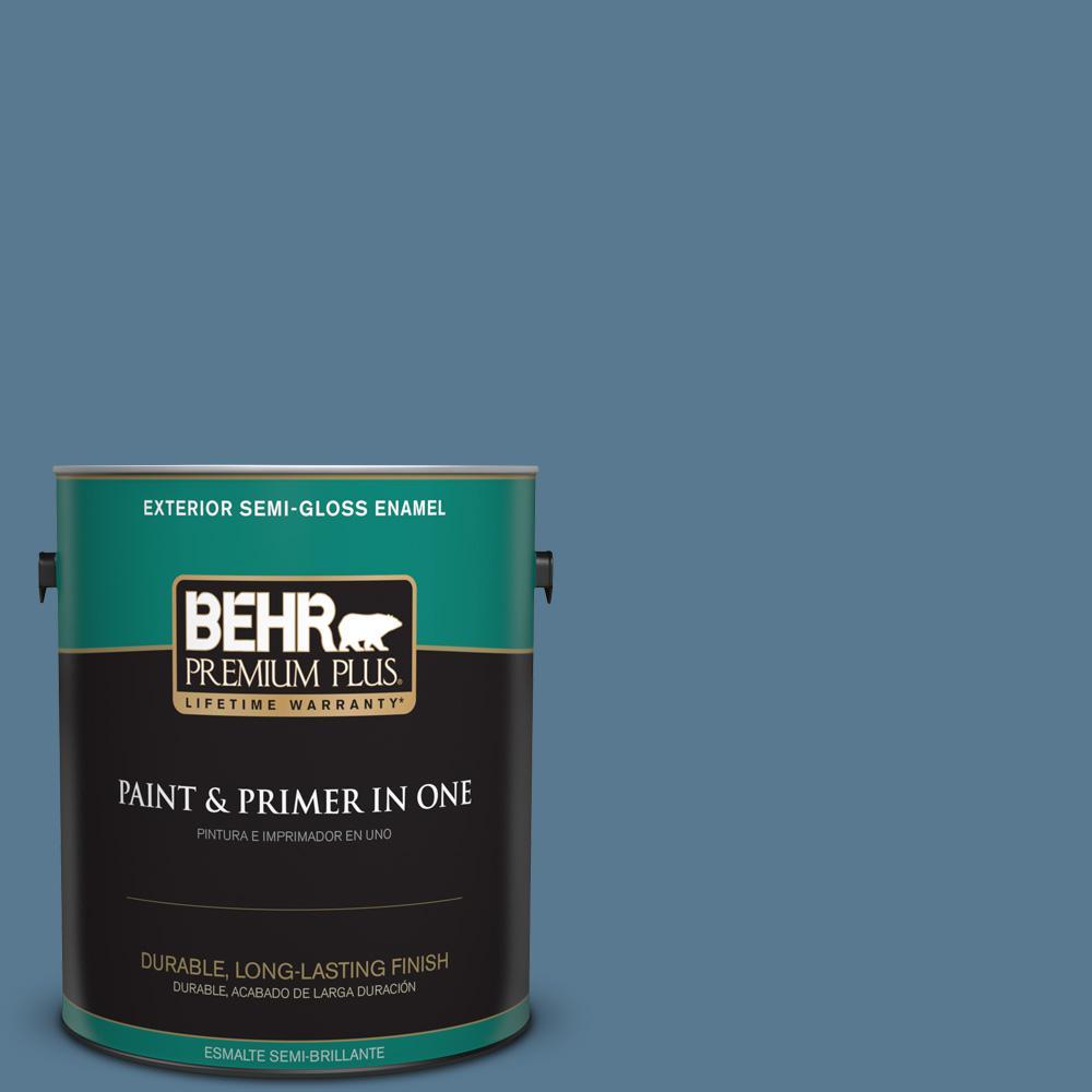 1 gal. #PPU14-03 Cayman Bay Semi-Gloss Enamel Exterior Paint