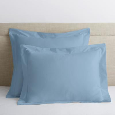 Misty Blue Solid 300 Thread Count Bamboo Cotton Sateen Euro Sham