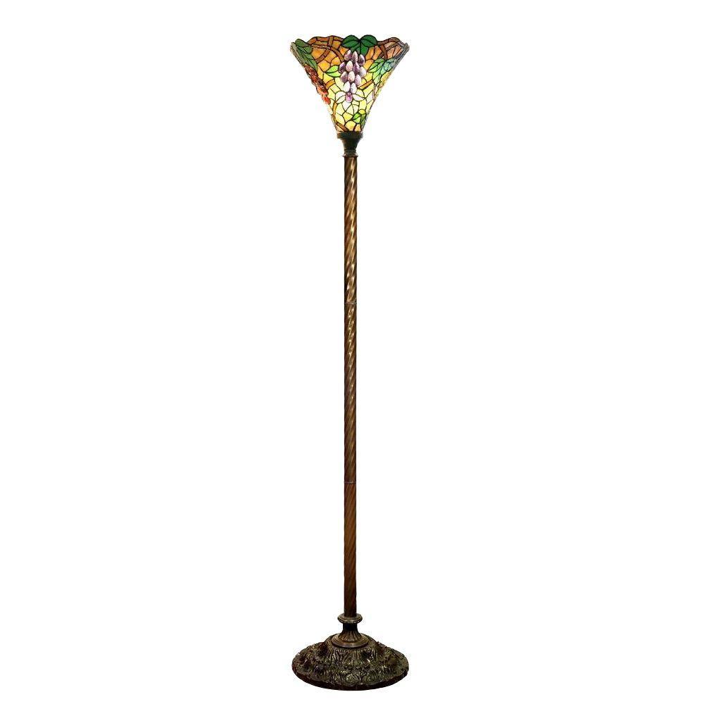 72 in. Grape Multicolored Brown Torchiere Lamp