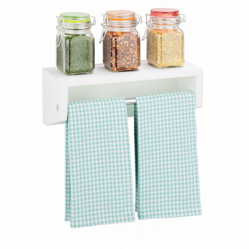 Honey-Can-Do 11.81 in. W x 4.53 in. D White Decorative Wall Shelf ...