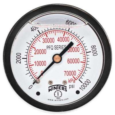 PFQ Series 2.5 in. Stainless Steel Liquid Filled Case Pressure Gauge with 1/4 in. NPT CBM and Range of 0-10000 psi/kPa