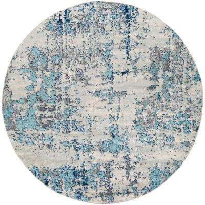 Woven Round Blue Area Rugs