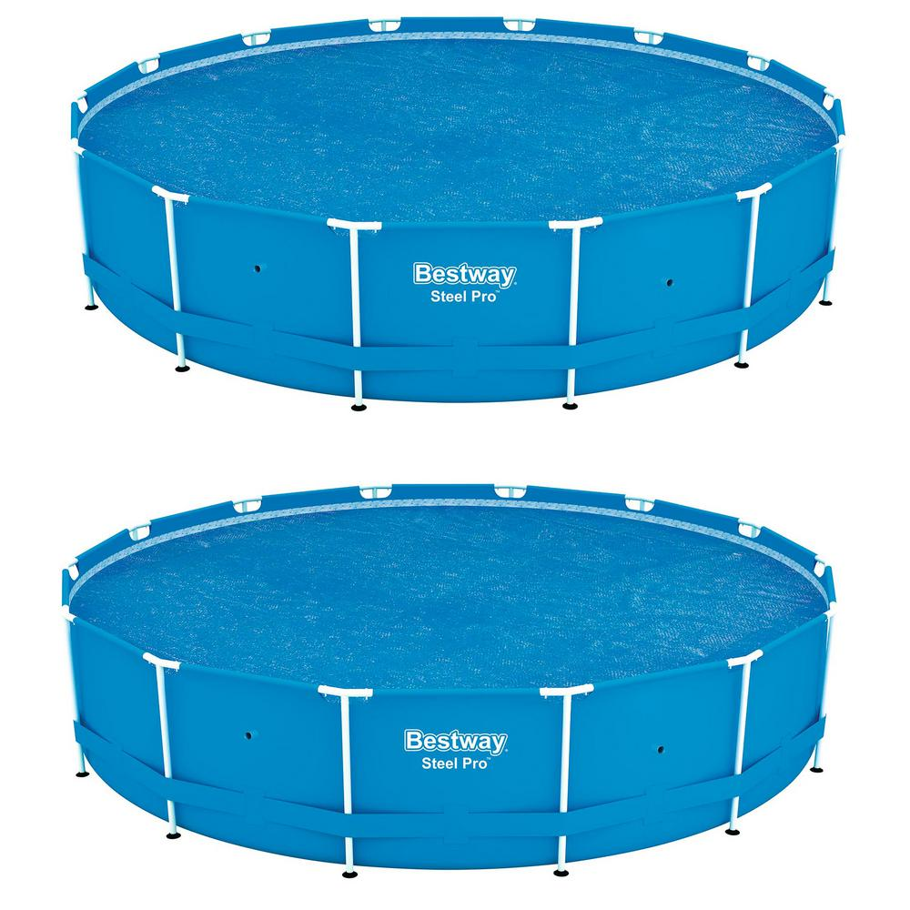 Bestway Bestway 14 ft. Round Floating Above Ground Swimming Pool Solar Heat  Cover (2-Pack)