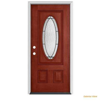 34 in. x 80 in. 3/4 Oval Lite Wendover Black Cherry Stained Fiberglass Prehung Right-Hand Inswing Front Door