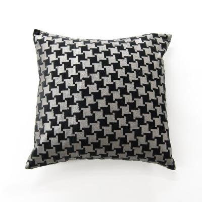 Metallic Houndstooth Black Geometric Cotton 18 in. x 18 in. Throw Pillow