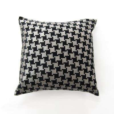 Metallic Houndstooth Black Velvet Pillow