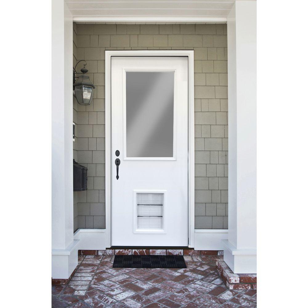 Premium 1/2 Lite Primed White Steel Prehung Front Door with Extra Large Pet Door