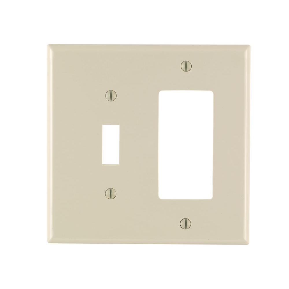 Decora 2-Gang Midway 1-Toggle Combination Nylon Wall Plate, Light Almond