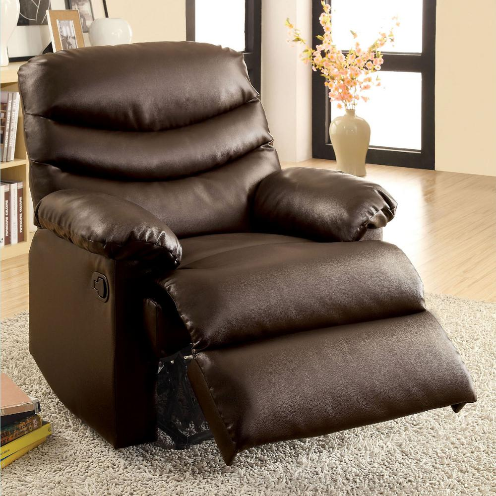 High Quality Furniture Of America Pleasant Valley Dark Brown Bonded Leather Recliner