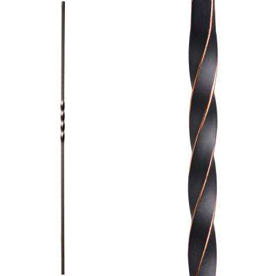 Twist and Basket 44 in. x 0.5 in. Oil Rubbed Copper Single Twist Hollow Wrought Iron Baluster