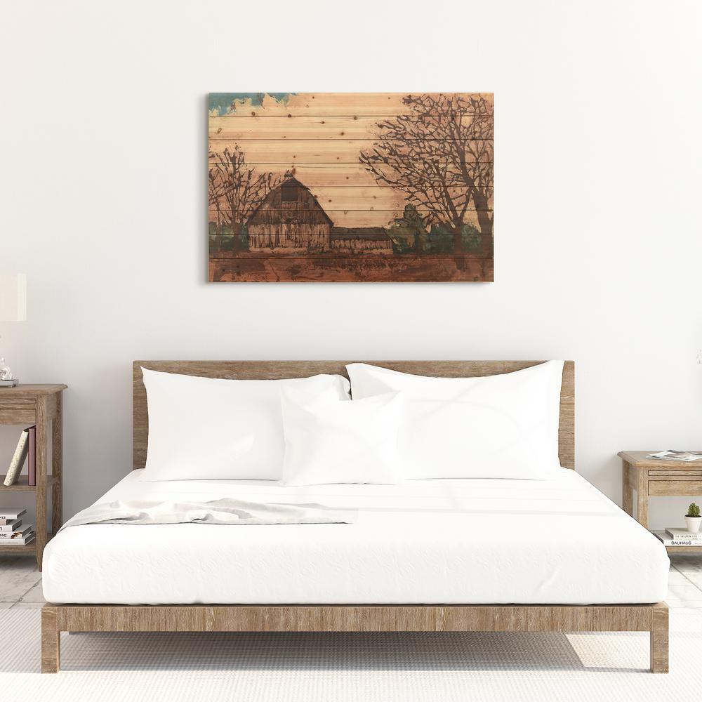 """30 in. x 45 in. """"Erstwhile Barn 1"""" Arte de Legno Digital Print on Solid Wood Wall Art"""