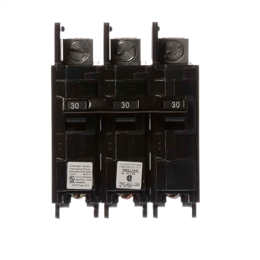 30 Amp 3-Pole BQ 10 kA Lug-In/Lug-Out Circuit Breaker with Side Lugs