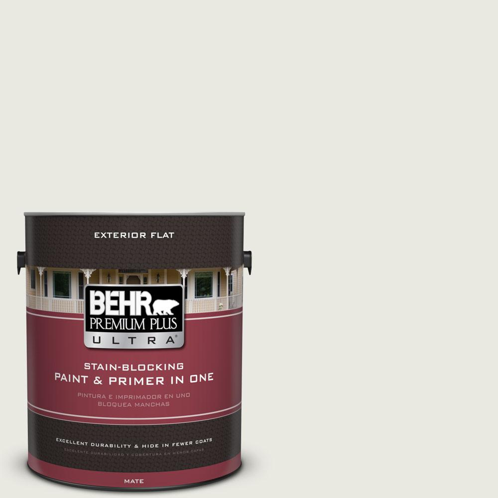 BEHR Premium Plus Ultra 1-gal. #GR-W7 Angel Feather Flat Exterior Paint