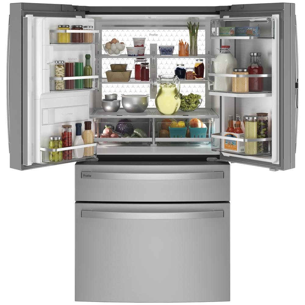 Ge Profile 27 9 Cu Ft Smart 4 Door French Door Refrigerator With Door In Door In Fingerprint Resistant Stainless Steel Pvd28bynfs The Home Depot