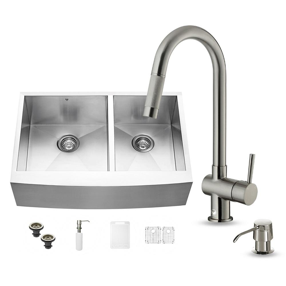 VIGO All-in-One Farmhouse Apron Front Stainless Steel 33 in. Double Bowl Kitchen Sink in Stainless Steel