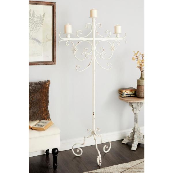 Litton Lane Tall Vintage White Metal Floor Candle Holder With