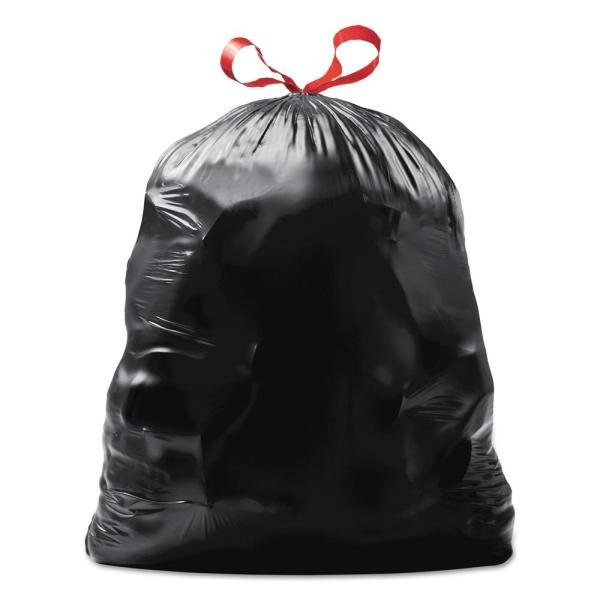 30 in. x 33 in. 30 Gal. 1.05 mil Black Drawstring Large Trash Bags (15-Bags/Box, 6-Boxes/Carton)