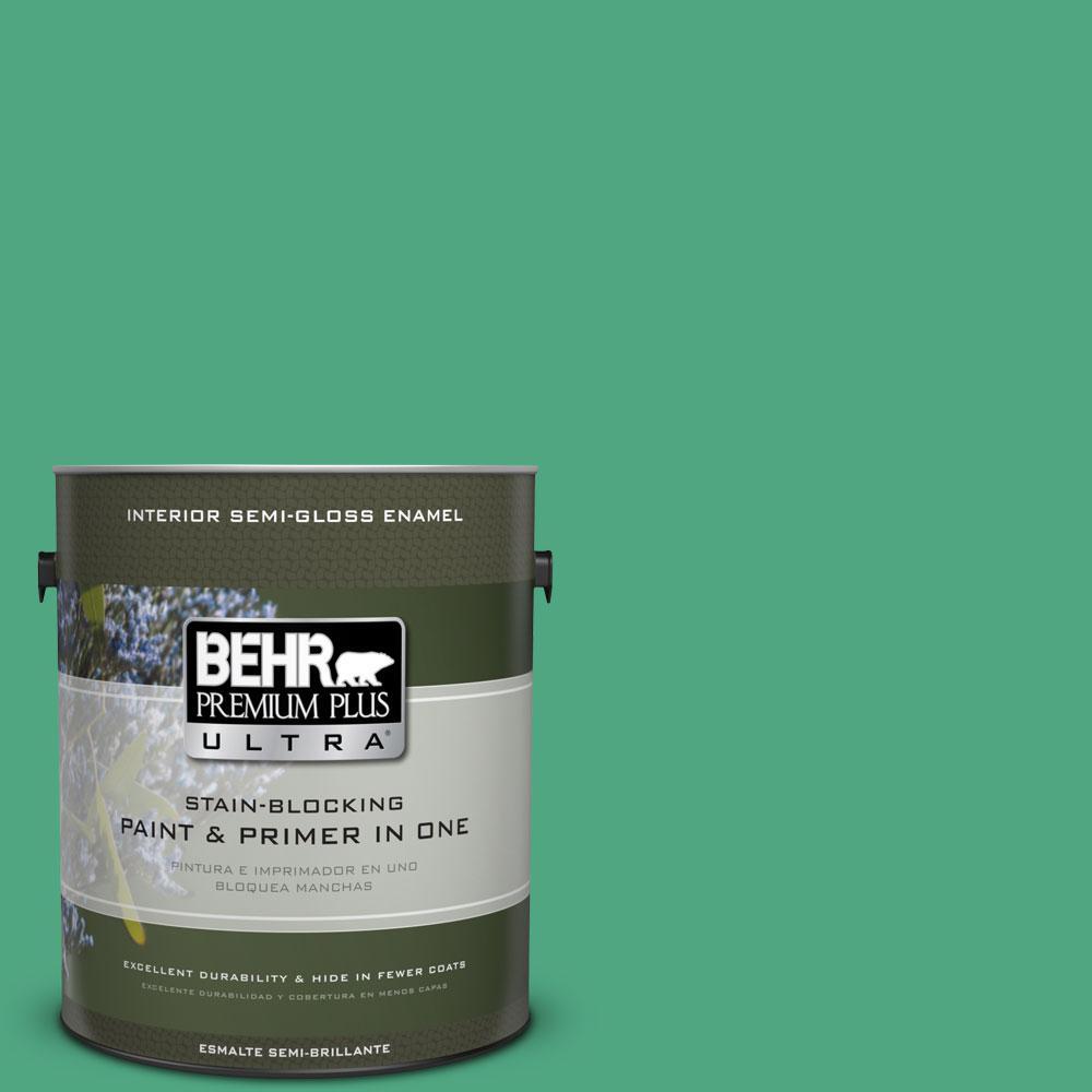 BEHR Premium Plus Ultra 1-gal. #P420-5 Shamrock Green Semi-Gloss Enamel Interior Paint