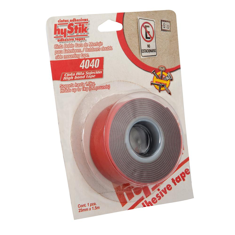 hyStik 4040 1 in. x 1.67 yds. Gray Exterior Mounting Tape with Red Liner (1-Roll)