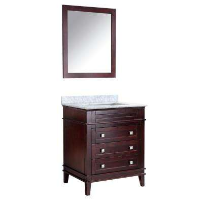 Wineck 36 in. W x 35 in. H Bath Vanity in Chocolate with Marble Vanity Top in Carrara White with White Basin and Mirror
