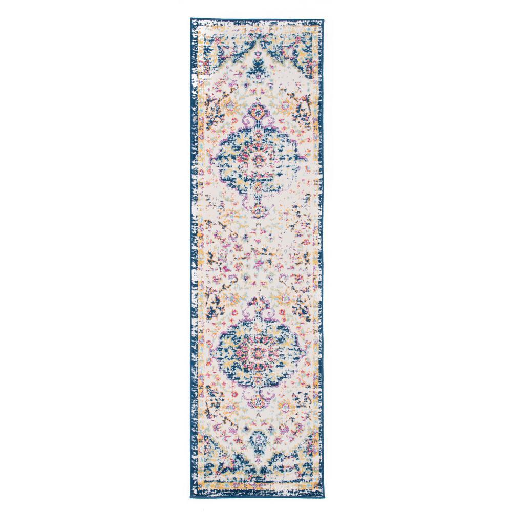 Vintage Traditional Bohemian 2 ft. x 7 ft. Dark Blue Runner Rug