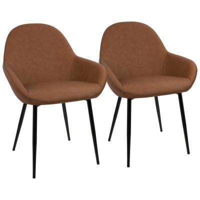 Black and Brown Clubhouse Vintage Faux Leather Dining Chair (Set of 2)