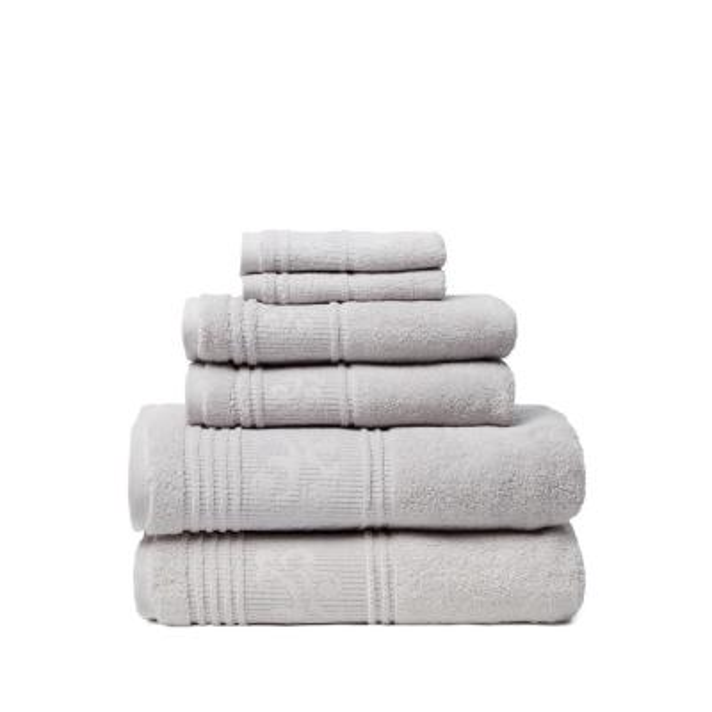 Leila 6-Piece 100% Turkish Cotton Bath Towel Set in Silver
