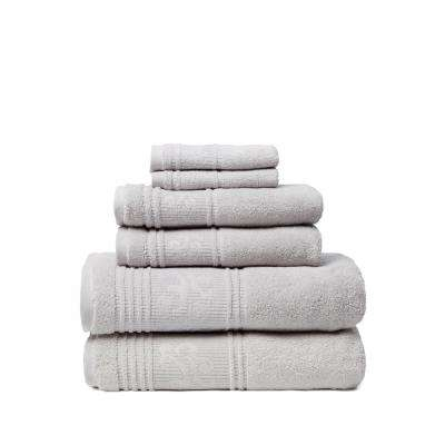 Leila 6-Piece 100% Turkish Cotton Bath Towel Set in Silver