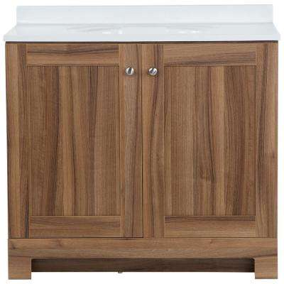 37 in. W x 19 in. D x 35.47 in. H Vanity in Caramel Mist with Cultured Marble Vanity Top in White with White Sink