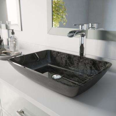 Rectangular Gray Onyx Glass Vessel Bathroom Sink Set with Niko Vessel Faucet in Chrome