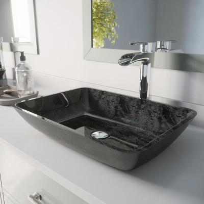 Glass Rectangular Vessel Bathroom Sink in Onyx Gray with Niko Faucet and Pop-Up Drain in Chrome