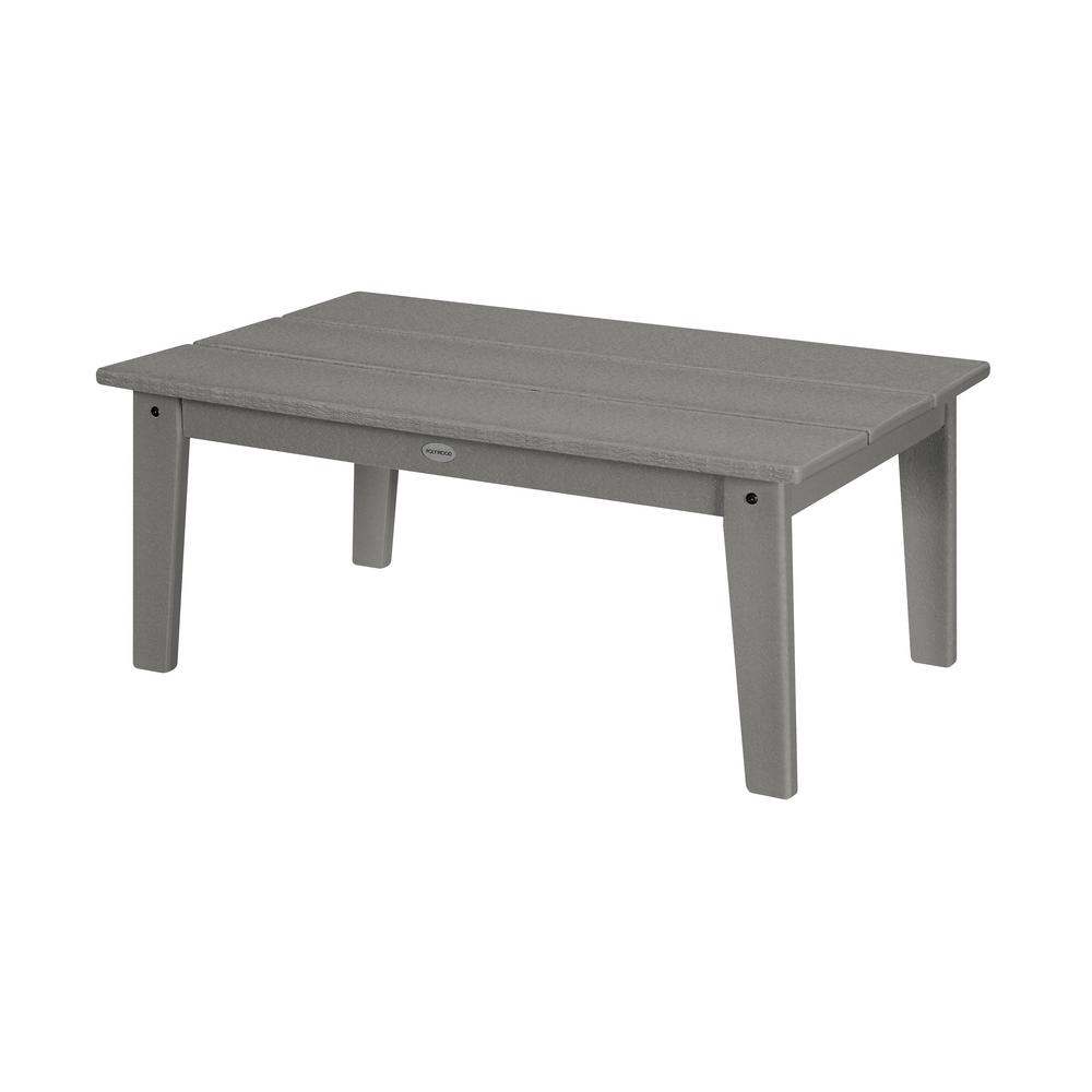 Slate Outdoor Coffee Table: POLYWOOD Grant Park Slate Grey Plastic Outdoor Coffee