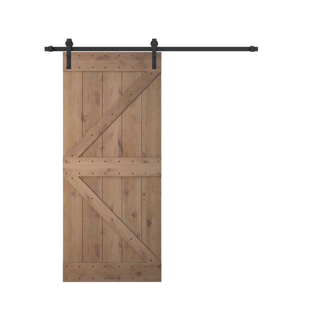 36 in. x 84 in. Z Bar 2 Panel Primed Natural Wood Finish Sliding Barn Door with Sliding Door Hardware Kit