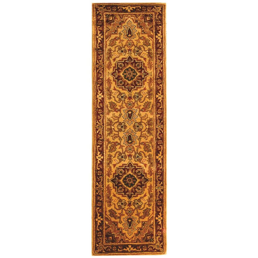 Classic Light Gold/Red 2 ft. x 8 ft. Runner Rug
