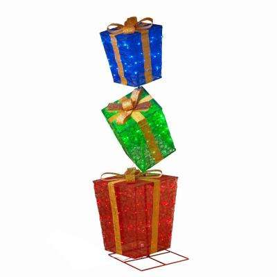 72 in. H 3 Stacked Lighted Gifts