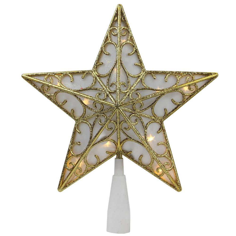 9 in. Gold Glitter Star LED Christmas Tree Topper - Warm White Lights