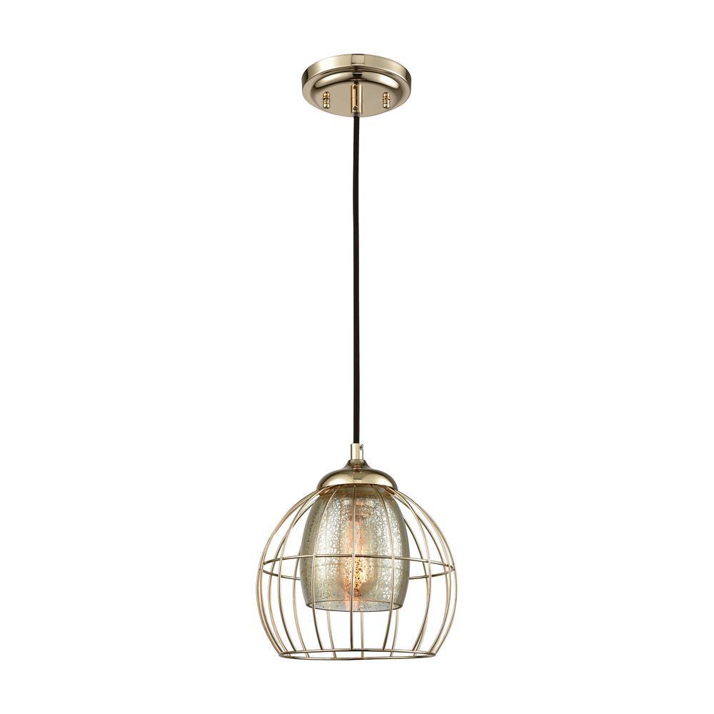 Yardley 1-Light Polished Gold with Mercury Glass Pendant