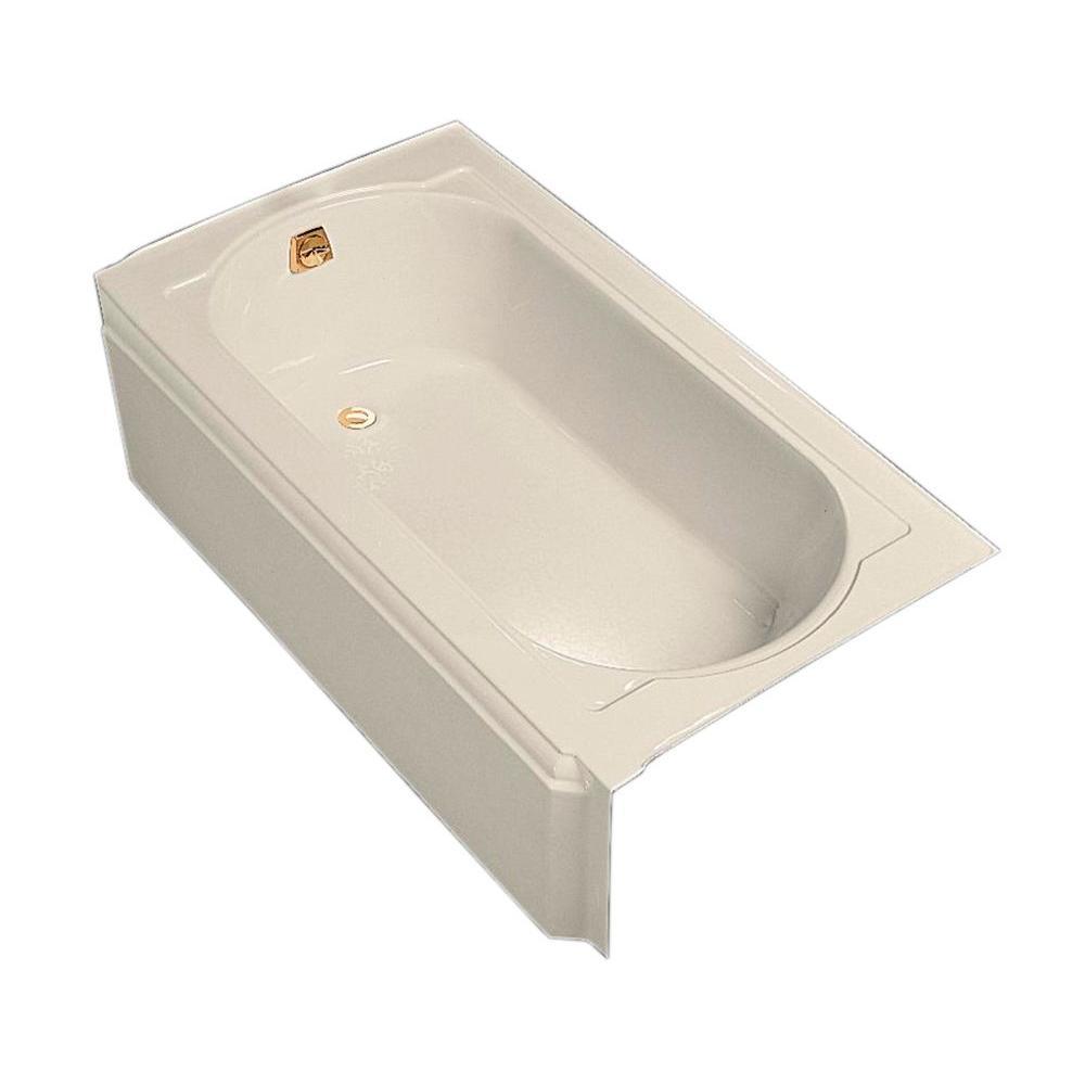 Memoirs 5 ft. Left-Hand Drain Rectangular Alcove Cast Iron Soaking Tub in Biscuit