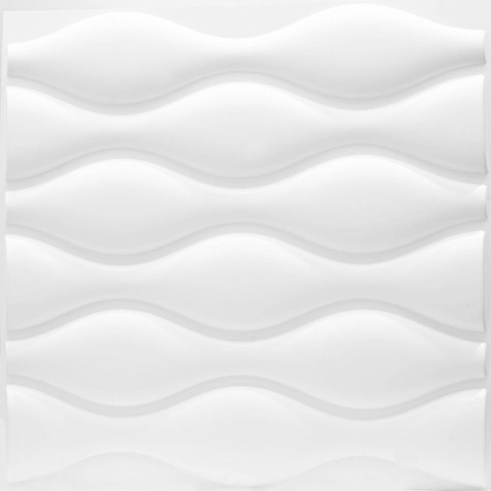 19.7 in. x 1 in. x 19.7 in. White PVC Fiber 3D Wall Panels (12-Pack)